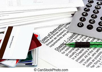 文書, 破産, コピースペース, カード, クレジット, ブランク, pen., card., 1(人・つ), ビルズ, 計算機