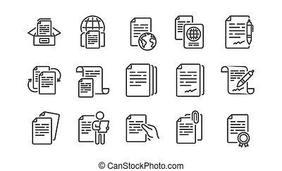 文書, 線, 合意, コピー, ベクトル, ファイル, 契約, doc., passport., アイコン, set., 証明書