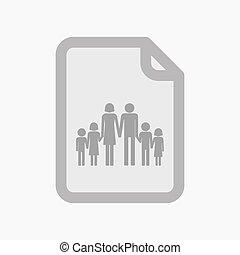 文書, 隔離された, 家族, pictogram, 大きい
