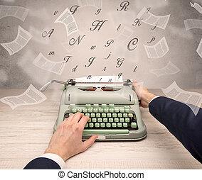 文書, 飛行, typewriting, のまわり, 手