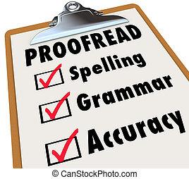 文法, チェックリスト, クリップボード, つづり, proofread, 正確さ