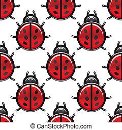 斑点を付けられる, てんとう虫,  seamless, 赤, パターン