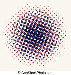 斑点を付けられる, 円, 色, 抽象的, 青, halftone, バックグラウンド。, 放射状, オレンジ, 白