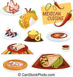 料理, ぴりっとする, メキシコ人, 皿, 伝統的である, アイコン