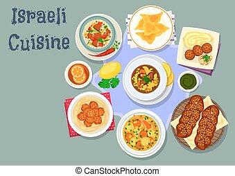 料理, イスラエル, 皿, ユダヤ人, 夕食, アイコン