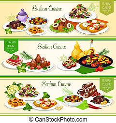 料理, イタリア語, シシリア, 皿, デザート