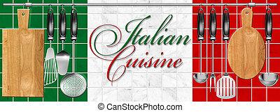 料理, イタリア語, セット, 台所用具