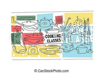 料理, クラス, テンプレート