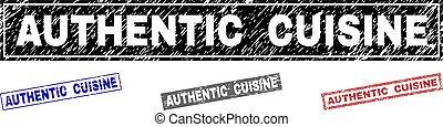 料理, グランジ, スタンプ, textured, 正しい, 長方形