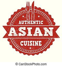 料理, グランジ, 切手, ゴム, アジア人, 正しい