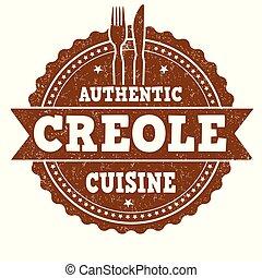 料理, グランジ, 切手, 正しい, ゴム, creole