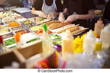 料理, サンドイッチ, ベンダー, スナック, 料理, コマーシャル, ファーストフード, 通り, kitchen., ...