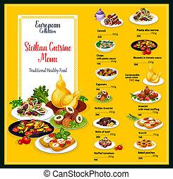料理, シシリア, 皿, 食物, メニュー, 伝統的である