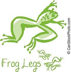 料理, スケッチ, 概念, illustration., 食通, フランス語, lags, ベクトル, 緑のカエル, 動物, 食事, image.