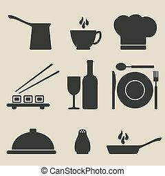 料理, セット, アイコン