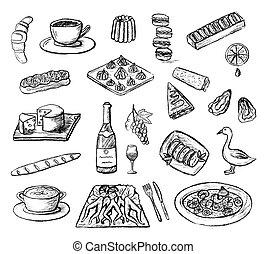 料理, セット, アイコン, フランス語, 手, ベクトル, sketched, 引かれる