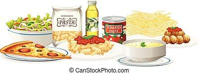 料理, セット, イタリア語