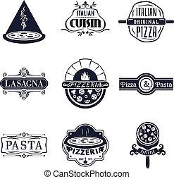 料理, セット, ロゴ, レストラン, ラベル, 紋章, ベクトル, レトロ, イタリア語