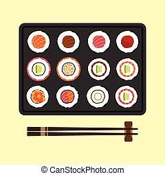 料理, セット, 寿司, 日本語, 回転する