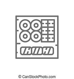 料理, セット, 寿司, 日本語, 線, icon.