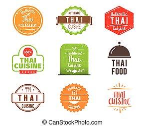 料理, タイ人, ベクトル, ラベル