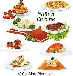 料理, デザート, 夕食, イタリア語, 漫画, アイコン