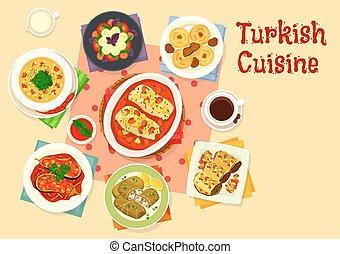 料理, トルコ語, 昼食, 味が良い, デザイン, アイコン