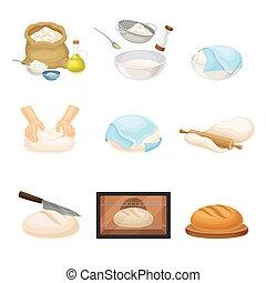 料理, ベクトル, から, 生地, 回転, bread, こねること, セット