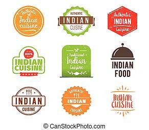 料理, ベクトル, indian, ラベル