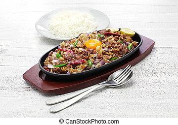 料理, ポーク, フィリピン人, sisig