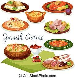 料理, メニュー, 夕食, デザイン, スペイン語, 漫画, アイコン
