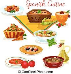 料理, メニュー, 夕食, 味が良い, スペイン語, 漫画, アイコン
