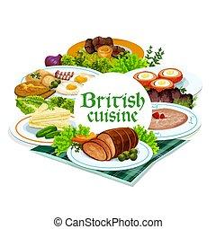 料理, ラウンド, ベクトル, 英国, 英語, フレーム, 食事