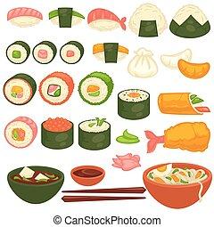 料理, レストランメニュー, 寿司, 日本語, sashimi, ベクトル, アイコン, 回転する
