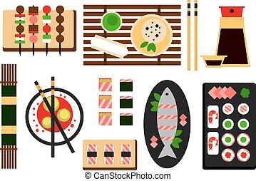 料理, レストラン, 平ら, ベクトル, アジア人, アイコン