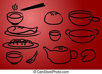 料理, 中国語, アイコン