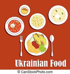 料理, 国民, セット, 皿, ウクライナ