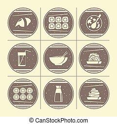料理, 日本語, アイコン