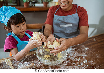 料理, 時間, 父, 娘, 持つこと, 間, 幸せ, 一緒に, アジア人