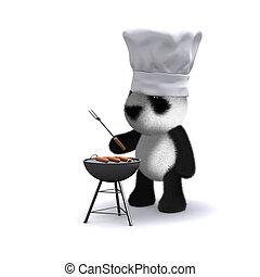 料理, 熊, 赤ん坊, バーベキュー, パンダ, 3d