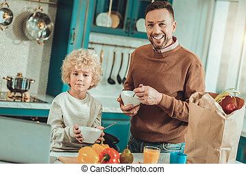 料理, 父, 一緒に, 息子, 気持が良い, 皿