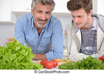 料理, 父, 台所, 一緒に, 息子