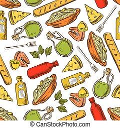 料理, 皿, パターン, seamless, 飲み物, イタリア語