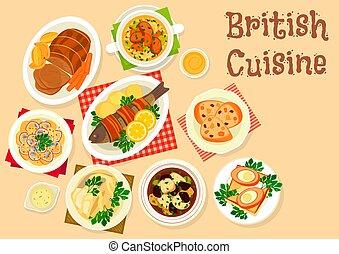 料理, 皿, メニュー, イギリス, デザイン, 味が良い, アイコン