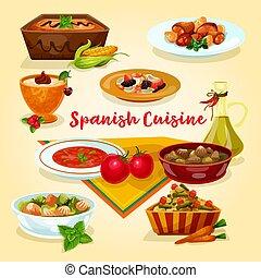 料理, 皿, 夕食, 味が良い, スペイン語, 漫画, アイコン