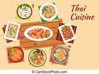 料理, 皿, 平ら, 夕食, アジア人, タイ人, アイコン