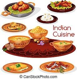料理, 皿, thali, indian, デザイン, 漫画, アイコン