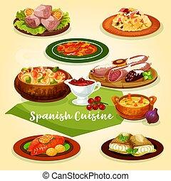 料理, 肉, 皿, fish, スペイン語, 漫画, アイコン