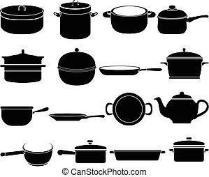 料理, 製品, アイコン, セット