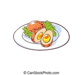 料理, 隔離された, ベクトル, 皿, タイ人, アイコン